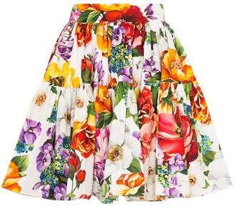 Dolce & Gabbana Pleated Floral-Print Puffball Mini Skirt