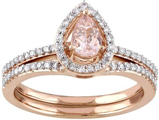Stella Grace 10k Rose Gold 1/3 Carat T.W. Diamond & MorganiteTeardrop Engagement Ring Set