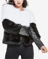 GUESS Sammi Colorblocked Faux-Fur Coat