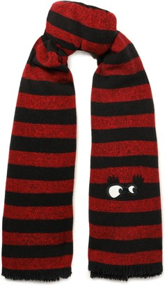 McQ Appliqued Striped Brushed-wool Scarf