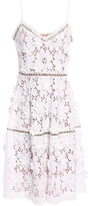 MICHAEL Michael Kors Crochet-trimmed Floral-appliqued Tiered Corded Lace Dress