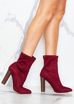 Missy Empire Lucile Wine Faux Suede Pointed Ankle Heeled Boots