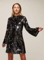 Miss Selfridge Premium sequin flute sleeve shift dress