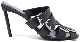 Balenciaga Buckle Multiple-strap Leather Mules - Black