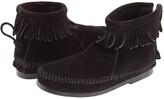 Minnetonka Kids Back Zipper Boot Hardsole (Toddler/Little Kid/Big Kid) (Brown Suede) Girls Shoes