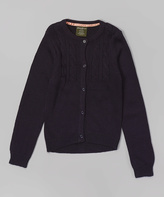 Eddie Bauer Navy Cable-Knit Cardigan - Girls