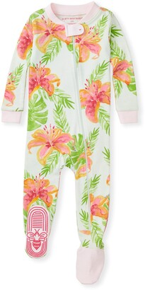 Burt's Bees Lily Oasis Organic Baby Zip Front Snug Fit Footed Pajamas
