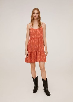 MANGO Printed short dress orange - 6 - Women