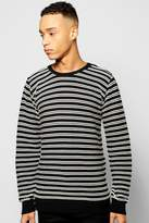 Boohoo Mono Stripe Jumper With Insert Shoulder Zips