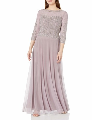 Cachet Women's 3/4 Sleeve Beaded Embellished Mother of The Bride Gown
