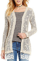 So It Is Lace Hem Marled Open Front Cardigan