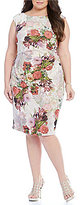 Adrianna Papell Plus Floral Metallic Jacquard Sheath Dress