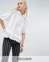 Milk It Vintage Polo T-Shirt With Broderie Trim
