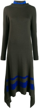 Sacai Contrast Panelled Knit Dress