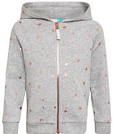 John Lewis Girls' Star Print Sweater Hoodie, Grey Marl