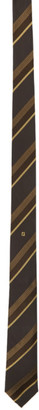 Fendi Brown and Yellow Silk Stripe Tie