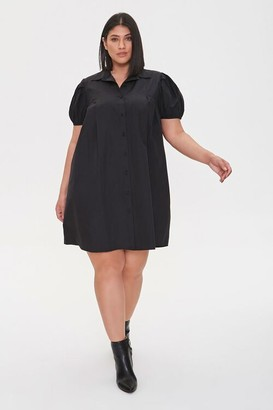 Forever 21 Plus Size Puff Sleeve Shirt Dress