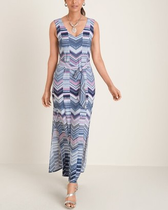 Chico's Cool-Toned Chevron Striped Maxi Dress
