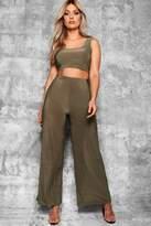 boohoo Plus Keri Slinky Wide Leg Trousers