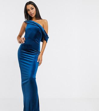 Asos Tall DESIGN Tall off shoulder velvet maxi dress-Blue