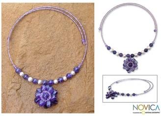 Novica Handmade Steel 'Oriental Bloom' Freshwater Pearl Amethyst Necklace