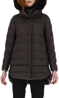 Herno Cashmere Blend Down Puffer Coat with Removable Genuine Fox Fur Trim