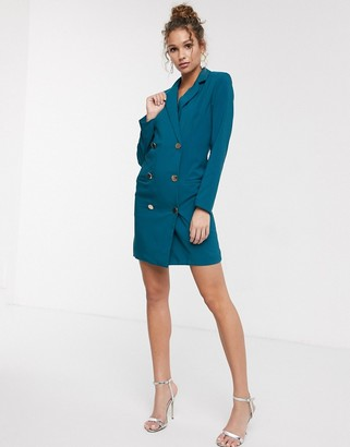 Paper Dolls gold button blazer mini dress in teal-Blue