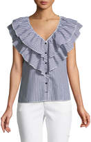 Romeo & Juliet Couture Ruffled Button-Front Striped Blouse