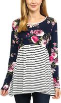 Magic Fit Navy & Fuchsia Floral & Stripe Hi-Low Tunic