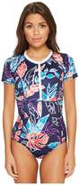 Tommy Bahama IslandActive Graphic Tropics Short-Sleeve One-Piece Swimsuit Women's Swimsuits One Piece