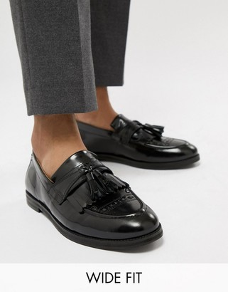 House Of Hounds wide fit Archer tassel loafers in black
