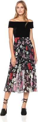 Donna Morgan Women's Off Shoulder Maxi Dress with Pleated Skirt