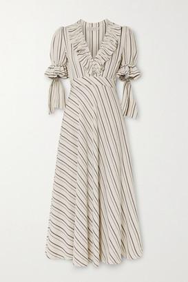 Lug Von Siga Dora Ruffled Striped Gauze Midi Dress - Beige