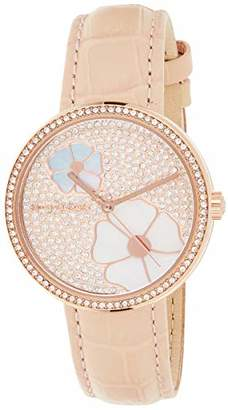 Michael Kors Women's Courtney Stainless Steel Analog-Quartz Watch with Leather Calfskin Strap