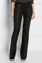 Roberto Cavalli Embellished suede flared pants