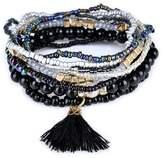 Lureme Bohemian Beads Pearl Tassel Multi Strand Textured Stackable Bangle Bracelet Set-(bl003054-2)