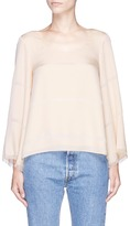 Elizabeth and James 'Jesper' frayed bell sleeve silk top