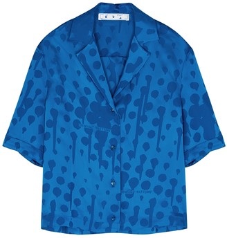 Off-White Blue jacquard satin shirt