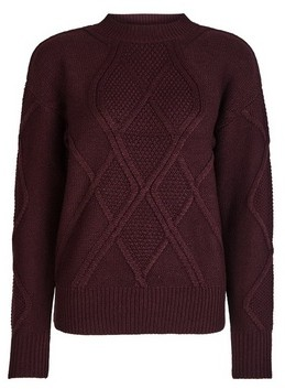Dorothy Perkins Womens Oxblood High Neck Cable Knitted Jumper