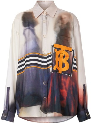 Burberry Victorian Photograph Print Silk Shirt