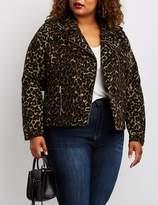 Charlotte Russe Plus Size Leopard Print Moto Jacket