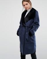 Vero Moda Faux Shearling Belted Coat