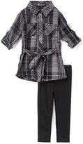 Dollhouse Charcoal Plaid 'Flawless' Tunic & Leggings - Toddler