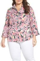 Foxcroft Plus Size Women's Tahiti Print Wrinkle-Free Shirt