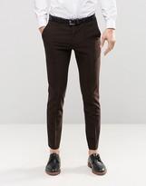 Asos Skinny Suit Pants In Brown