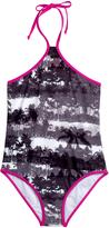 Big Chill Black & Pink Palm Tree One-Piece - Girls