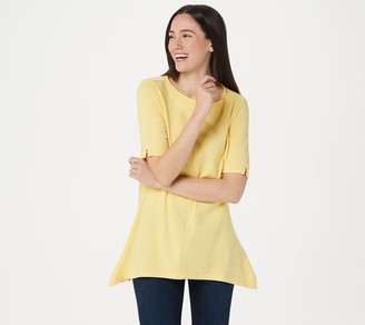 Denim & Co. Bateau-Neck Elbow-Sleeve Trapeze Tunic