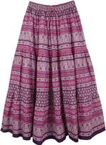 "TLB - Purple Cotton Printed Full Peasant Skirt - L:36.5""; W:26""-36"""