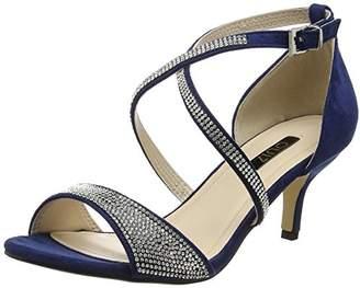 Quiz Women's Diamante Faux Suede Low Heel Sandals Open-Toe,36 EU