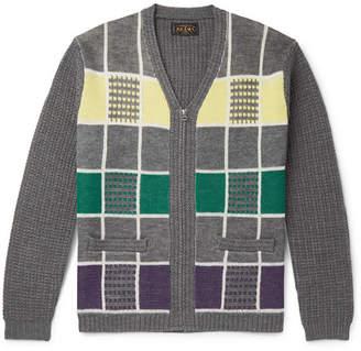 Beams Checked Wool Zip-Up Cardigan